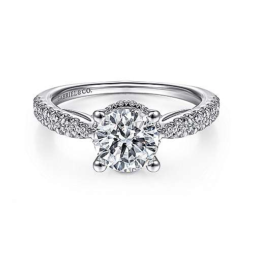 Gabriel - Farren 14k White Gold Round Straight Engagement Ring