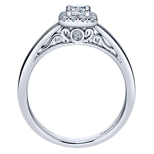 Fate 14k White Gold Princess Cut Halo Engagement Ring angle 2