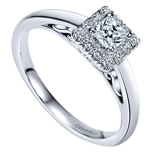 Fate 14k White Gold Princess Cut Halo Engagement Ring angle 3
