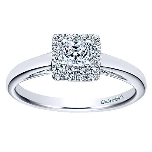 Fate 14k White Gold Princess Cut Halo Engagement Ring angle 5