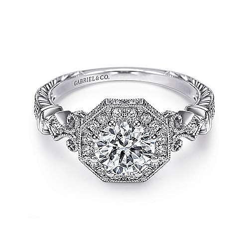 Feel Platinum Round Halo Engagement Ring angle 1