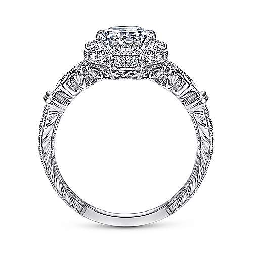 Feel Platinum Round Halo Engagement Ring angle 2