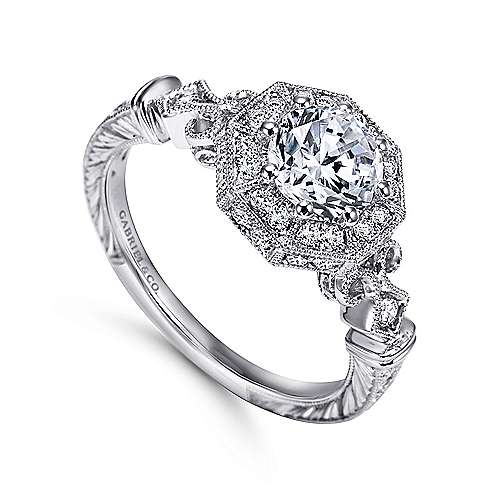 Feel Platinum Round Halo Engagement Ring angle 3