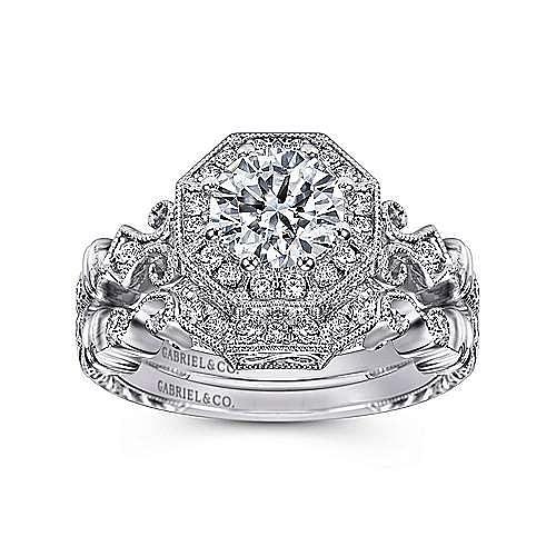 Feel Platinum Round Halo Engagement Ring angle 4