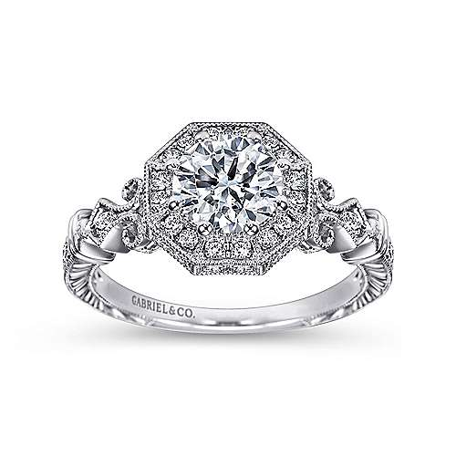 Feel Platinum Round Halo Engagement Ring angle 5