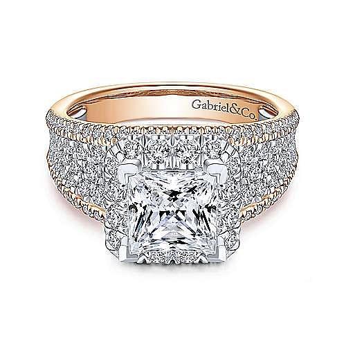Gabriel - Feline 14k White And Rose Gold Princess Cut Halo Engagement Ring