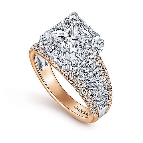 Feline 18k White And Rose Gold Princess Cut Halo Engagement Ring angle 3