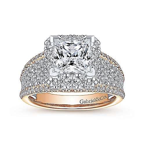 Feline 18k White And Rose Gold Princess Cut Halo Engagement Ring