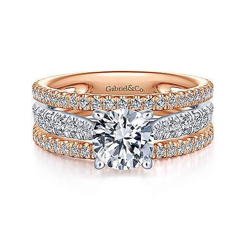 Gabriel - Fiji 18k White And Rose Gold Round Straight Engagement Ring