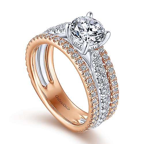 Fiji 18k White And Rose Gold Round Straight Engagement Ring angle 3