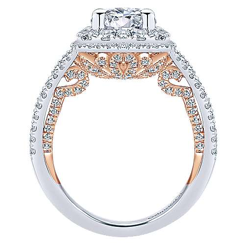 Finn 18k White And Rose Gold Round Double Halo Engagement Ring angle 2