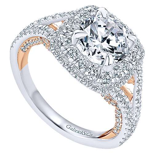 Finn 18k White And Rose Gold Round Double Halo Engagement Ring angle 3