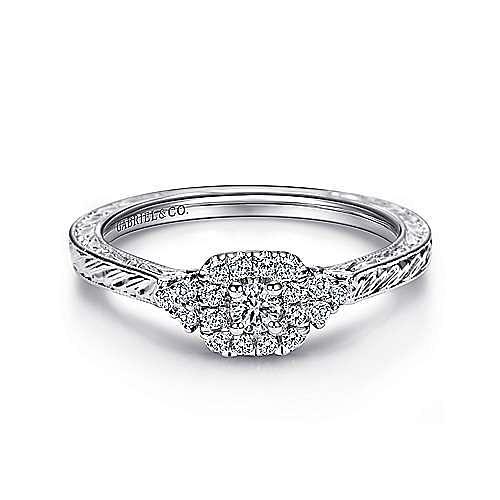 Gabriel - Flatiron 14k White Gold Round Halo Engagement Ring