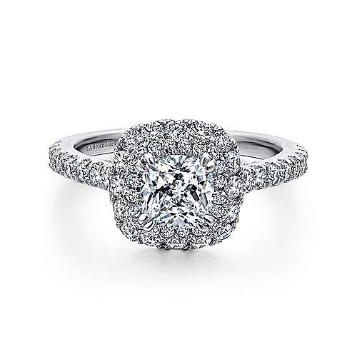 Flora 14k White Gold Cushion Cut Double Halo Engagement Ring angle 1
