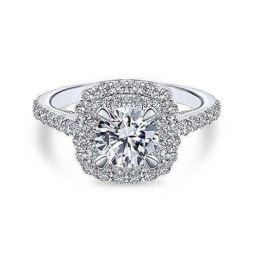 Gabriel - Flora 14k White Gold Round Double Halo Engagement Ring