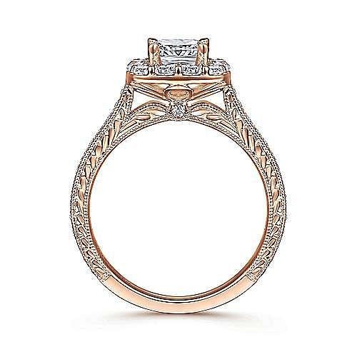 Florence 14k Rose Gold Cushion Cut Halo Engagement Ring angle 2