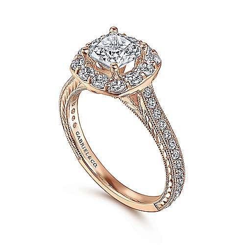 Florence 14k Rose Gold Cushion Cut Halo Engagement Ring angle 3