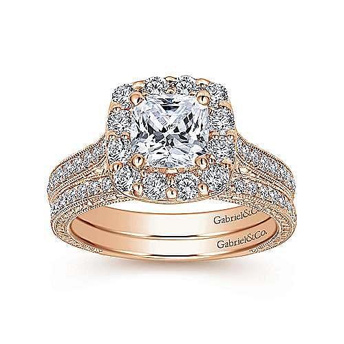 Florence 14k Rose Gold Cushion Cut Halo Engagement Ring angle 4
