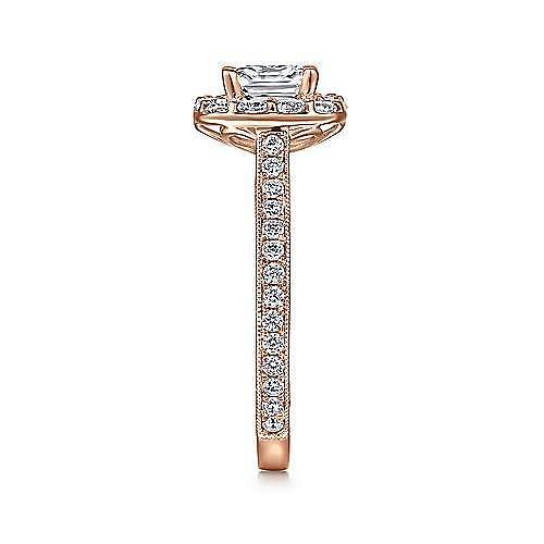 Florence 14k Rose Gold Cushion Cut Halo Engagement Ring angle 5