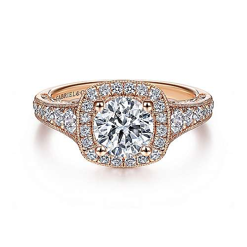 Florence 14k Rose Gold Round Halo Engagement Ring angle 1