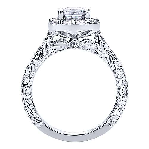 Florence 14k White Gold Cushion Cut Halo Engagement Ring angle 2
