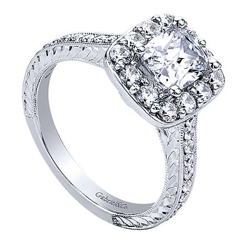 Florence 14k White Gold Cushion Cut Halo Engagement Ring angle 3