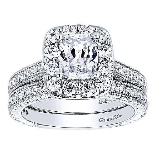 Florence 14k White Gold Cushion Cut Halo Engagement Ring angle 4