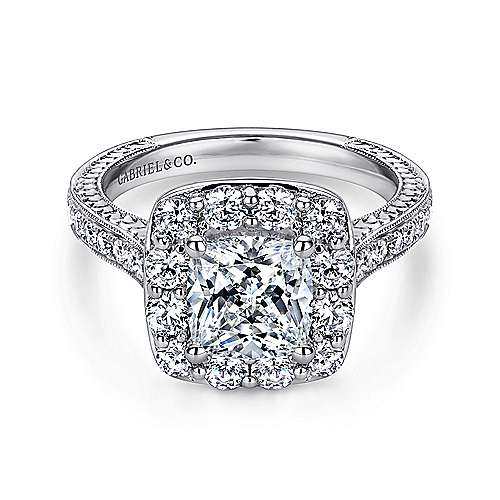 Gabriel - Florence 14k White Gold Cushion Cut Halo Engagement Ring