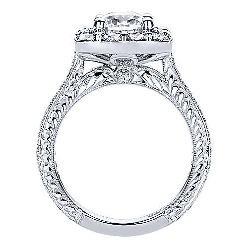 Florence 14k White Gold Cushion Cut Halo Engagement Ring angle 2
