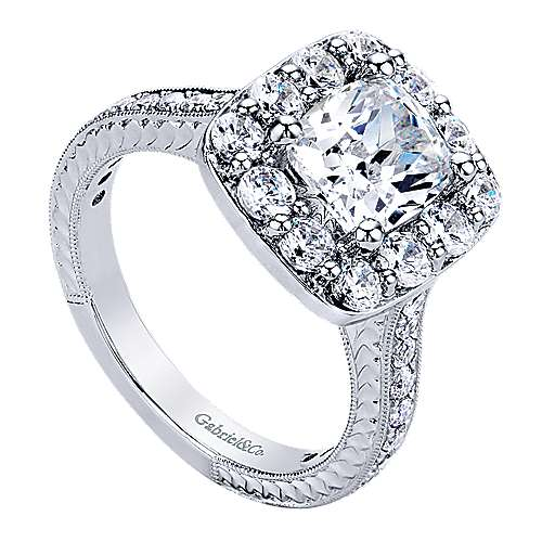 Florence 14k White Gold Cushion Cut Halo Engagement Ring angle 3