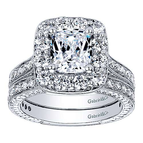 Florence 14k White Gold Cushion Cut Halo Engagement Ring angle 4