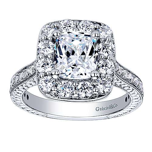 Florence 14k White Gold Cushion Cut Halo Engagement Ring angle 5