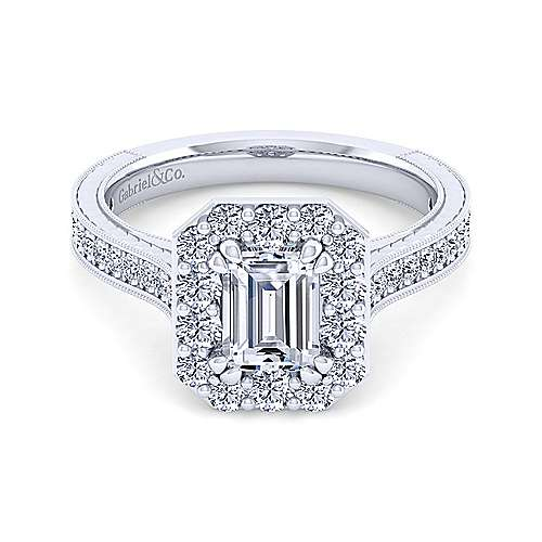 Gabriel - Florence 14k White Gold Emerald Cut Halo Engagement Ring