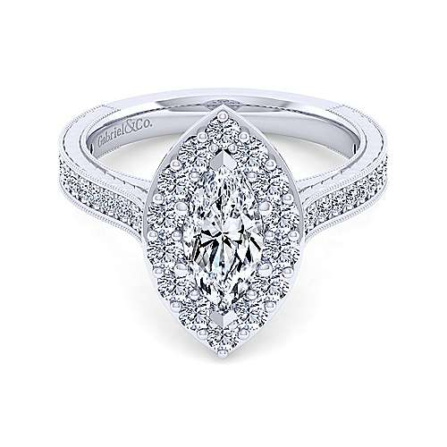Gabriel - Florence 14k White Gold Marquise  Halo Engagement Ring