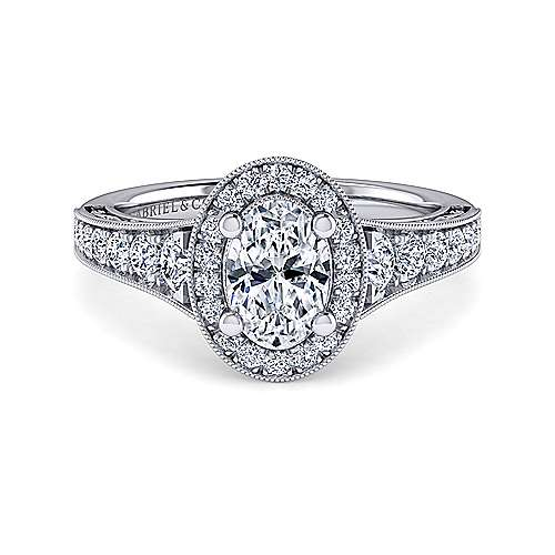 Gabriel - Florence 14k White Gold Oval Halo Engagement Ring