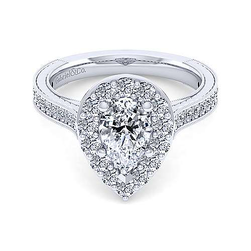 Gabriel - Florence 14k White Gold Pear Shape Halo Engagement Ring
