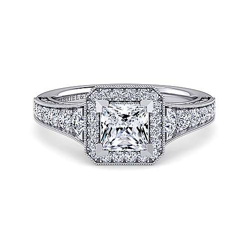 Gabriel - Florence 14k White Gold Princess Cut Halo Engagement Ring