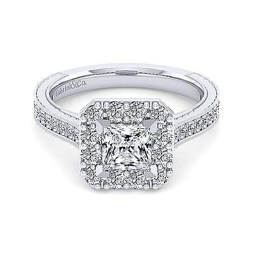 Gabriel - Florence 14k White Gold Princess Cut Halo Engagement Ring