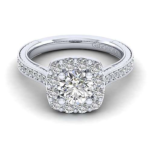 Gabriel - Florence 14k White Gold Round Halo Engagement Ring