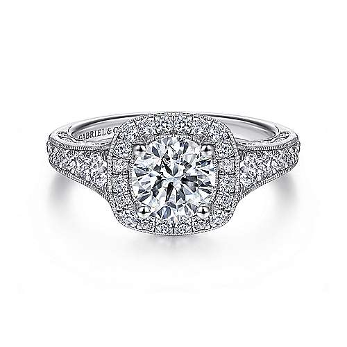 Florence 14k White Gold Round Halo Engagement Ring angle 1