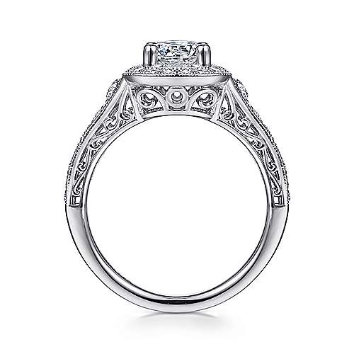Florence 14k White Gold Round Halo Engagement Ring angle 2