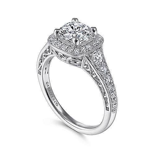 Florence 14k White Gold Round Halo Engagement Ring angle 3