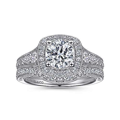 Florence 14k White Gold Round Halo Engagement Ring angle 4