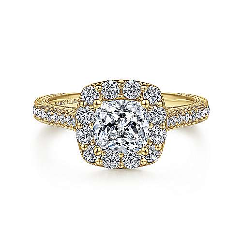 Gabriel - Florence 14k Yellow Gold Cushion Cut Halo Engagement Ring