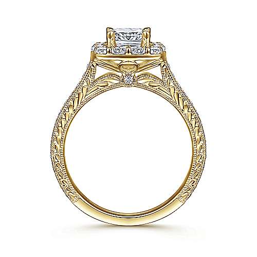 Florence 14k Yellow Gold Cushion Cut Halo Engagement Ring angle 2