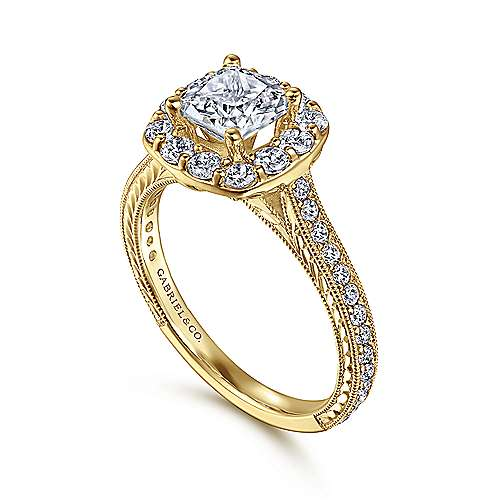 Florence 14k Yellow Gold Cushion Cut Halo Engagement Ring angle 3