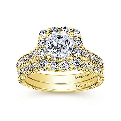 Florence 14k Yellow Gold Cushion Cut Halo Engagement Ring angle 4