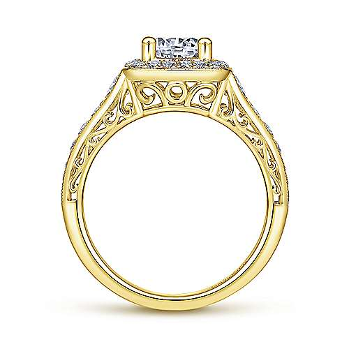 Florence 14k Yellow Gold Round Halo Engagement Ring angle 2