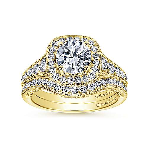 Florence 14k Yellow Gold Round Halo Engagement Ring angle 4