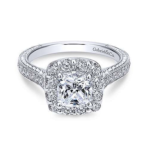 Gabriel - Florence 18k White Gold Cushion Cut Halo Engagement Ring